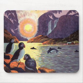 Vintage Travel, Norway Fjord Land of Midnight Sun Mouse Pad