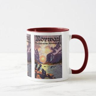 Vintage Travel, Norway Fjord Land of Midnight Sun Mug