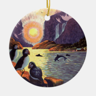 Vintage Travel, Norway Fjord Land of Midnight Sun Double-Sided Ceramic Round Christmas Ornament