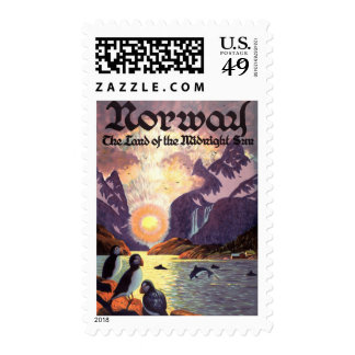 Vintage Travel, Norway Fjord Land of Midnight Sun Stamps