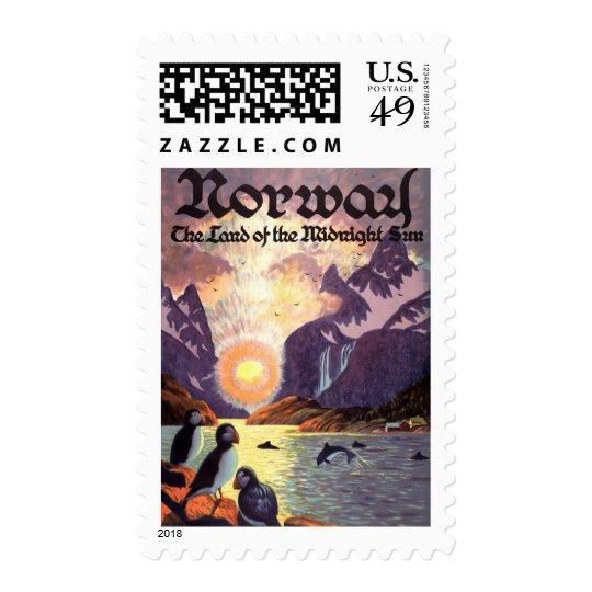 Vintage Travel, Norway Fjord Land of Midnight Sun Postage