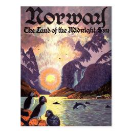 Vintage Travel, Norway Fjord Land of Midnight Sun Postcard