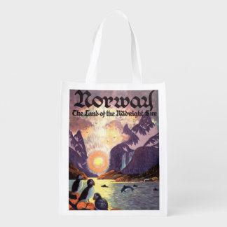 Vintage Travel, Norway Fjord Land of Midnight Sun Reusable Grocery Bag
