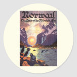 Vintage Travel, Norway Fjord Land of Midnight Sun Stickers