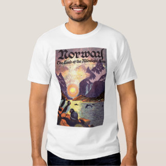 Vintage Travel, Norway Fjord Land of Midnight Sun T-shirts