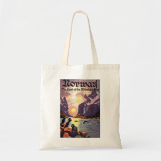 Vintage Travel, Norway Fjord Land of Midnight Sun Tote Bag