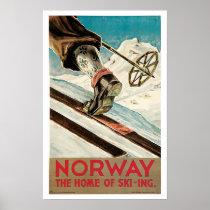 Vintage Travel,Norway Ski Poster