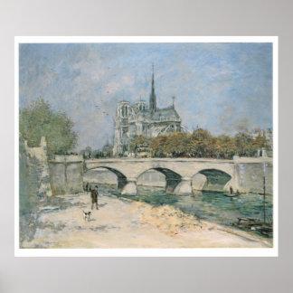 Vintage Travel Notre Dame de Paris Poster