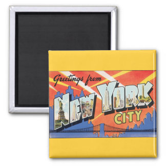 Vintage Travel NYC, Greetings from New York City 2 Inch Square Magnet