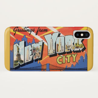 Vintage Travel NYC, Greetings from New York City iPhone X Case