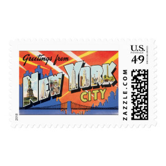 Vintage Travel NYC, Greetings from New York City Stamp