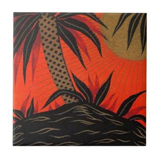 Vintage Travel Palm Tree South Sea Tropical Tile