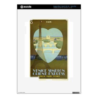 Vintage Travel Paris France Orient Express Skins For iPad 3