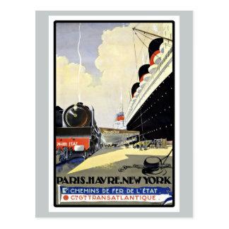 Vintage Travel Paris Havre New York Postcard