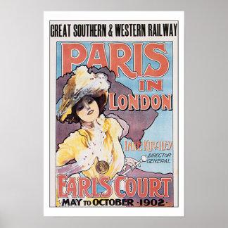 Vintage Travel Paris in London Poster