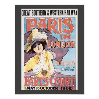 Vintage Travel, Paris in London Railroad Woman Card