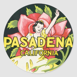Vintage Travel, Pasadena California, Lady and Rose Classic Round Sticker