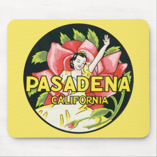 Vintage Travel, Pasadena California, Lady and Rose Mouse Pad