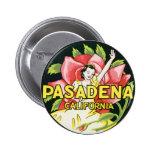Vintage Travel, Pasadena California, Lady and Rose Pinback Button