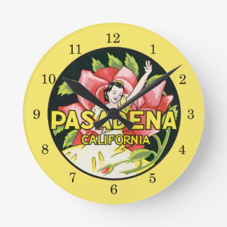 Vintage Travel, Pasadena California, Lady and Rose Round Clock