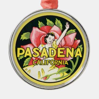 Vintage Travel, Pasadena California, Lady and Rose Round Metal Christmas Ornament
