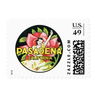 Vintage Travel, Pasadena California, Lady and Rose Stamp