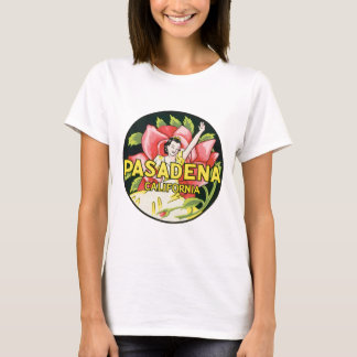 Vintage Travel, Pasadena California, Lady and Rose T-Shirt