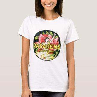Vintage Travel, Pasadena California, Lady and Rose T-Shirt