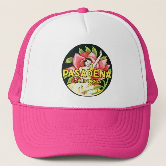 Vintage Travel, Pasadena California, Lady and Rose Trucker Hat