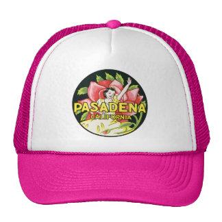 Vintage Travel, Pasadena California, Lady and Rose Trucker Hat