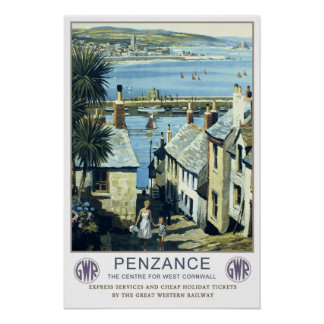 Vintage travel,Penzance,Cornwall Poster