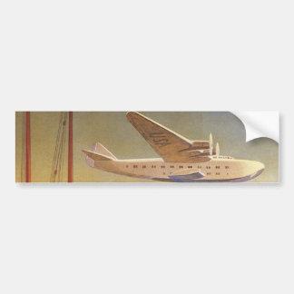 Vintage Travel, Plane Over Junks in Hong Kong Bumper Sticker