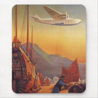 Vintage Travel, Plane Over Junks in Hong Kong Mouse Pad