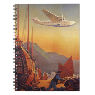 Vintage Travel, Plane Over Junks in Hong Kong Notebook