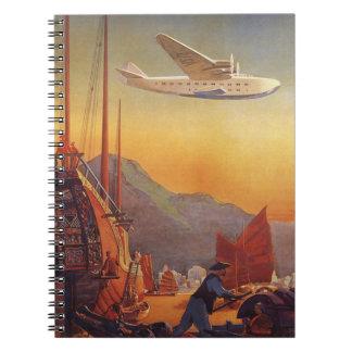 Vintage Travel, Plane Over Junks in Hong Kong Spiral Notebook