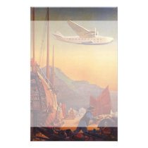 Vintage Travel, Plane Over Junks in Hong Kong Stationery