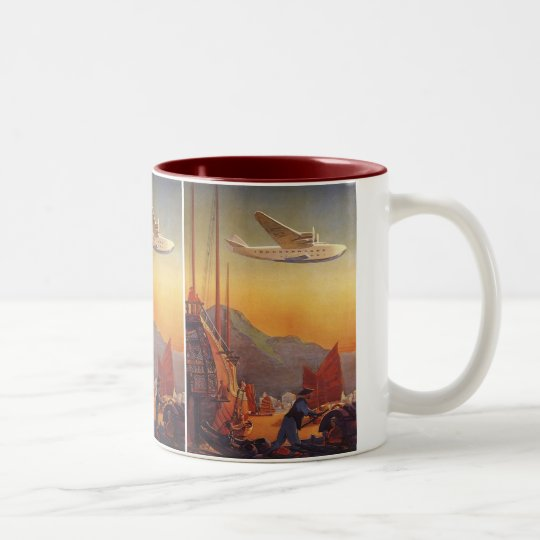 Vintage Travel, Plane Over Junks in Hong Kong Two-Tone Coffee Mug