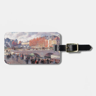 Vintage Travel Pont Saint-Michel Paris Luggage Tag