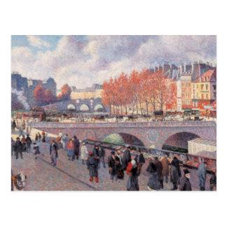 Vintage Travel Pont Saint-Michel Paris Postcard