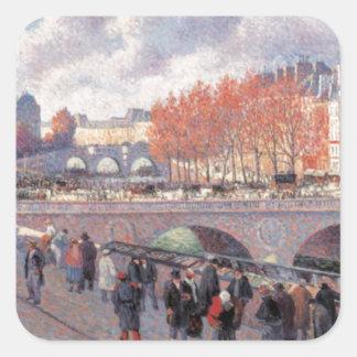 Vintage Travel Pont Saint-Michel Paris Square Sticker