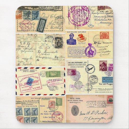 Vintage Travel Postcards Mouse Pad