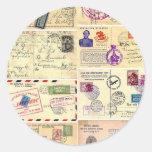 Vintage Travel Postcards Round Stickers