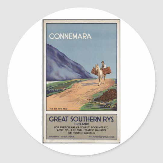Vintage Travel Poster Ad Retro Prints Classic Round Sticker