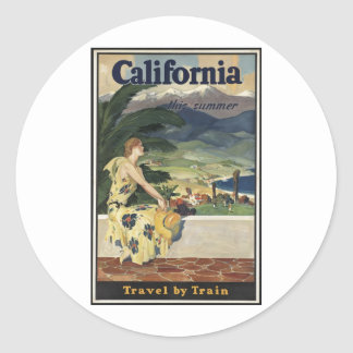 Vintage Travel Poster Ad Retro Prints Classic Round Sticker