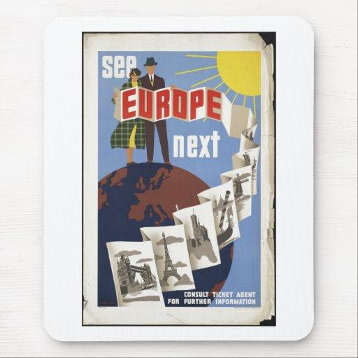 Vintage Travel Poster Ad Retro Prints Mousepads