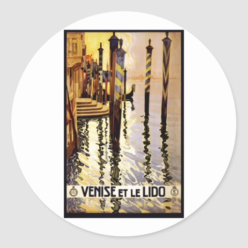 Vintage Travel Poster Ad Retro Prints Round Stickers