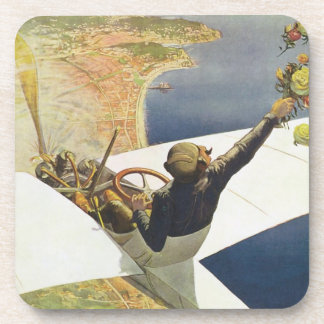 Vintage Travel Poster, Airplane over Nice France Beverage Coaster