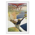 Vintage Travel Poster, Airplane over Nice France Card