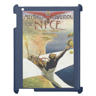 Vintage Travel Poster, Airplane over Nice France iPad Cover