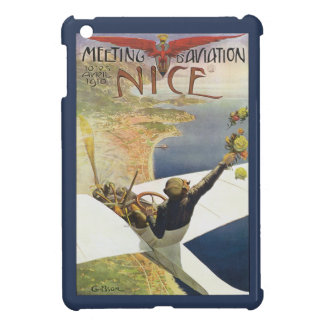 Vintage Travel Poster, Airplane over Nice France iPad Mini Cover